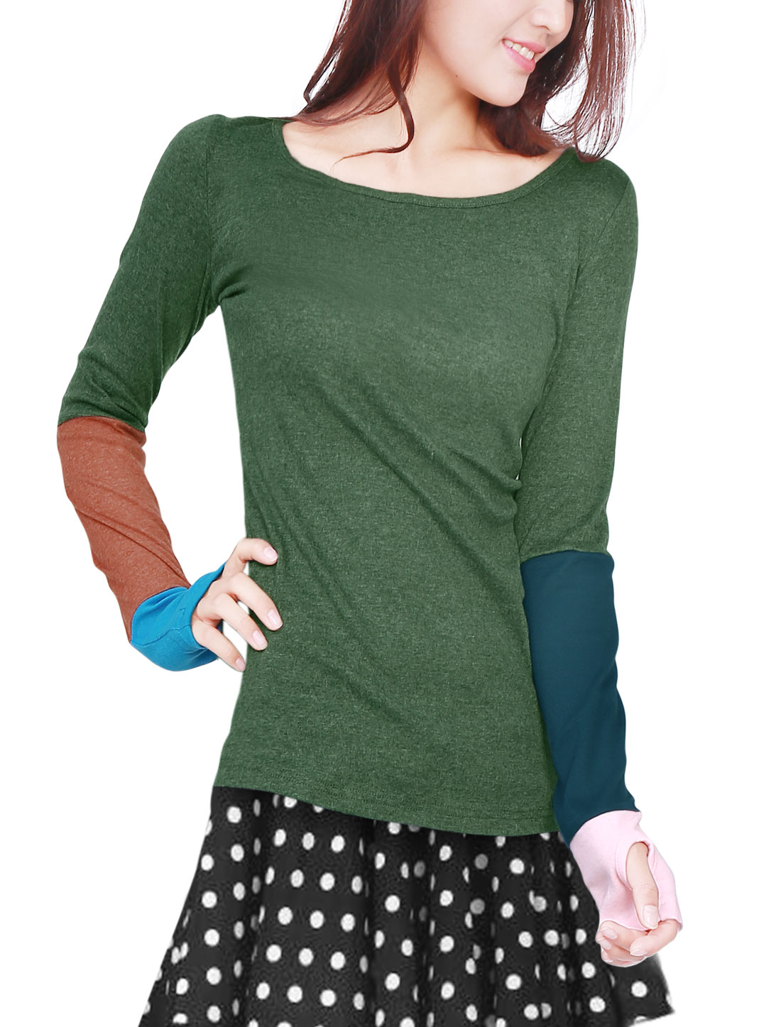 Lady Stylish Dark Green Scoop Neck Long Sleeve Splice Top Shirt M