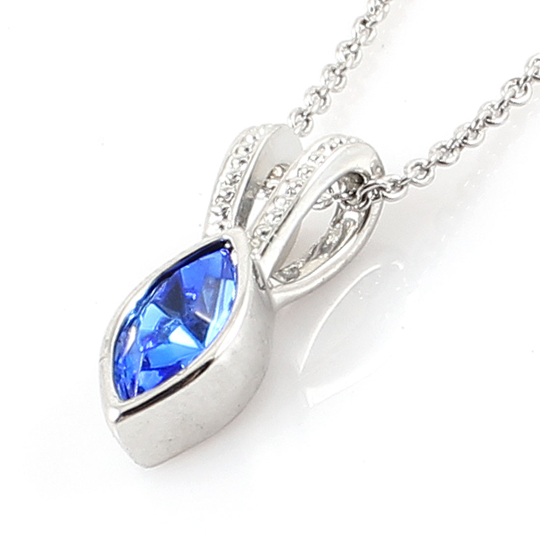 Lobster Clasp Royal Blue Faux Crystal Pendant Necklace for Ladies