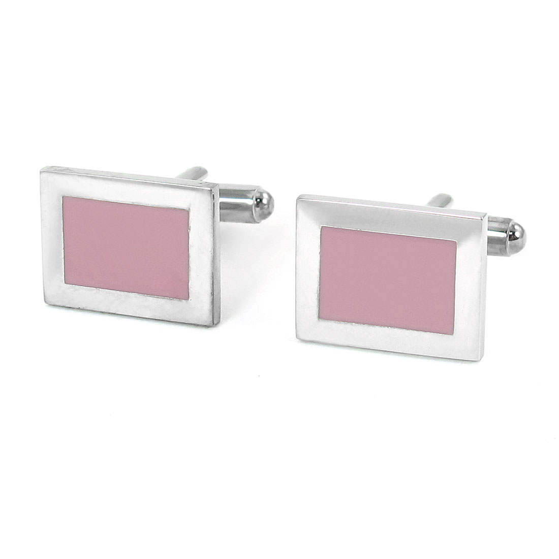 Pair Men Rectangle Shaped Light Pink Silver Tone Tuxedo Shirt Decor Cufflink