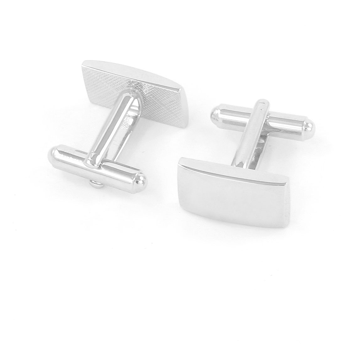 Pair Silver Tone Metallic Tuxedo Decor Cuff Links for Groom Man