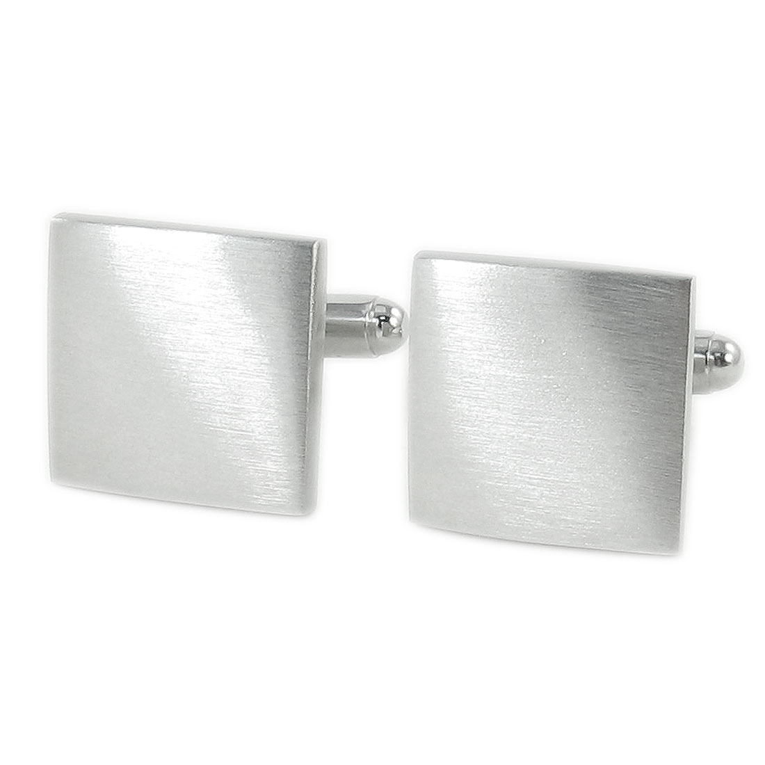 Pair Square Silver Tone Metal Tuxedo Decor Cufflinks Cuff Links for Groom Man