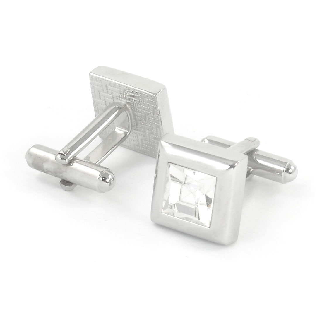 Pair Clear Faux Crystal Inlaid Square Tuxedo Decor Cuff Links for Groom Man