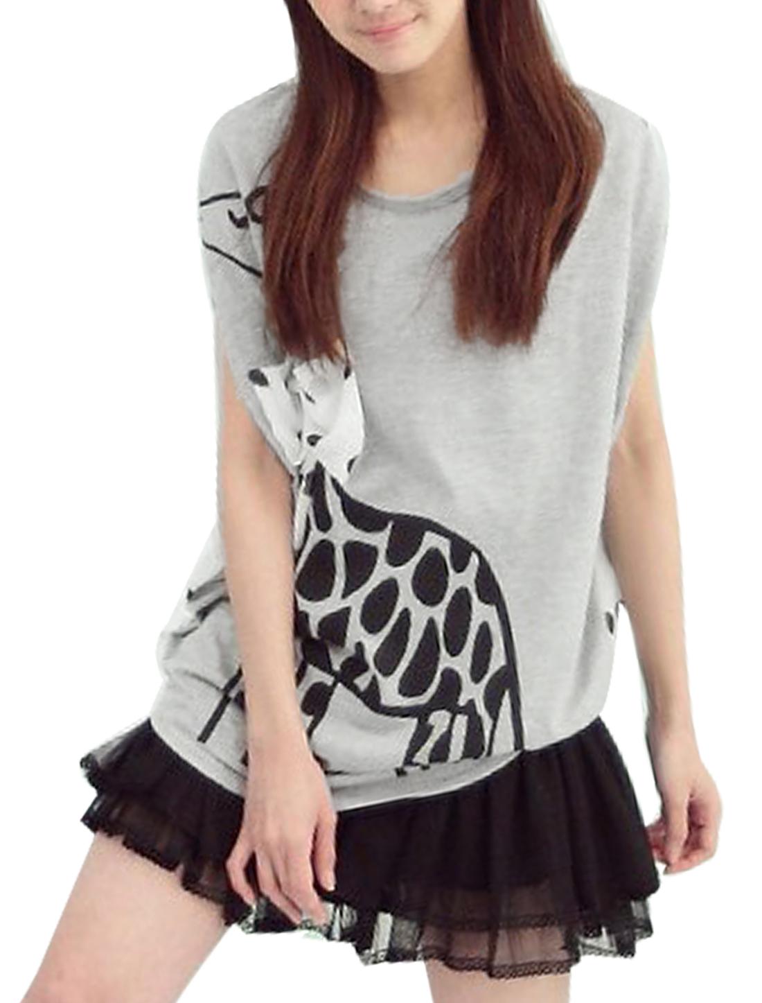 Lady Stylish Pullover Giraffe Pattern Light Gray Splice Top Shirt L