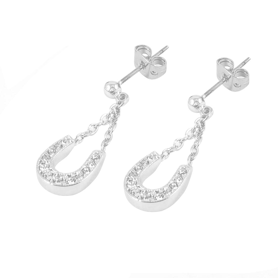 Pair Shiny Rhinestone Inlaid U Design Pendant Eardrop Earrings for Ladies