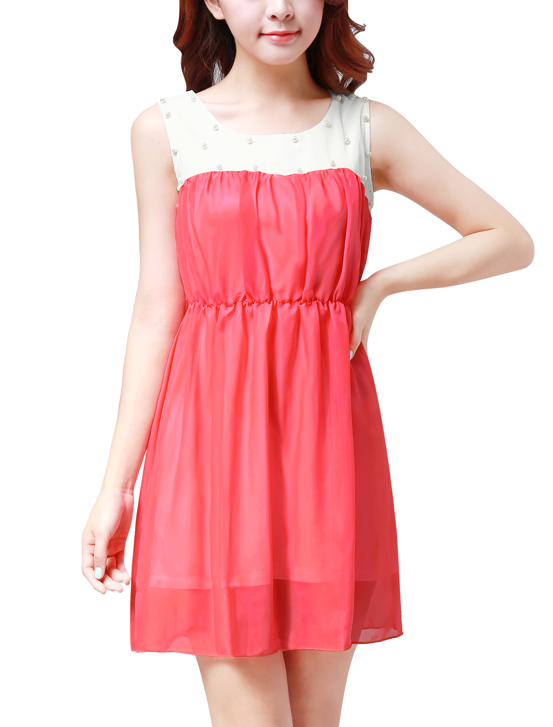 Woman New Fashion Scoop Neck Sleeveless Watermelon Red Mini Dress M