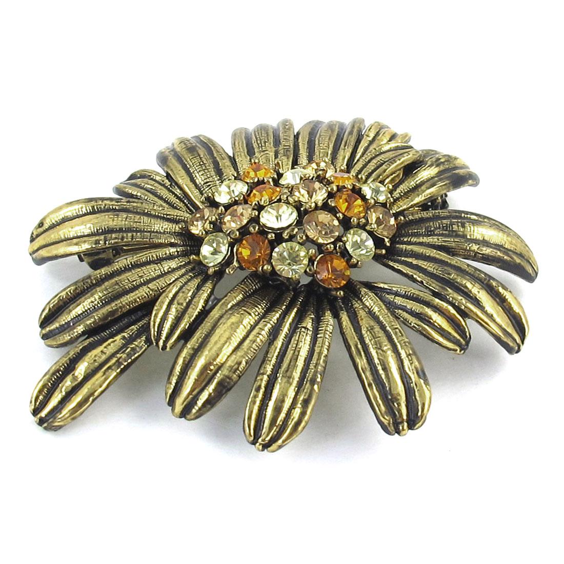 Rhinestone Inlaid Flower Design Metal Safty Pin Brooch Bronze Tone for Ladies