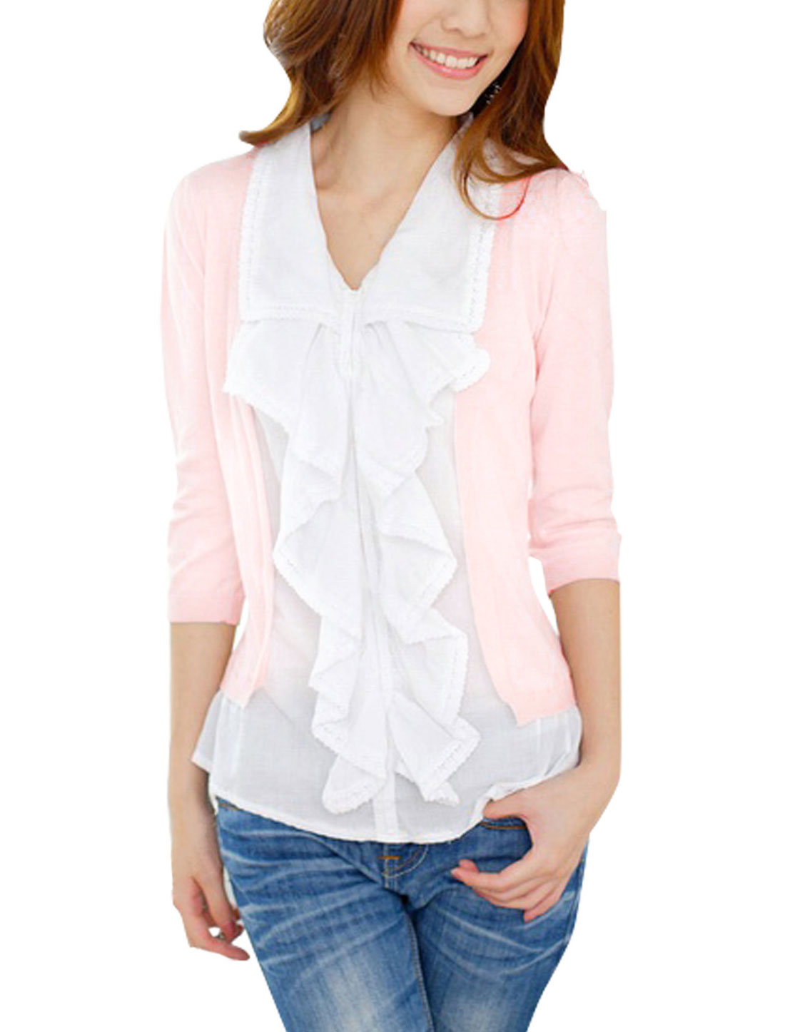 Lady Pink White Point Collar Ruffle Front Slim Layered Top L