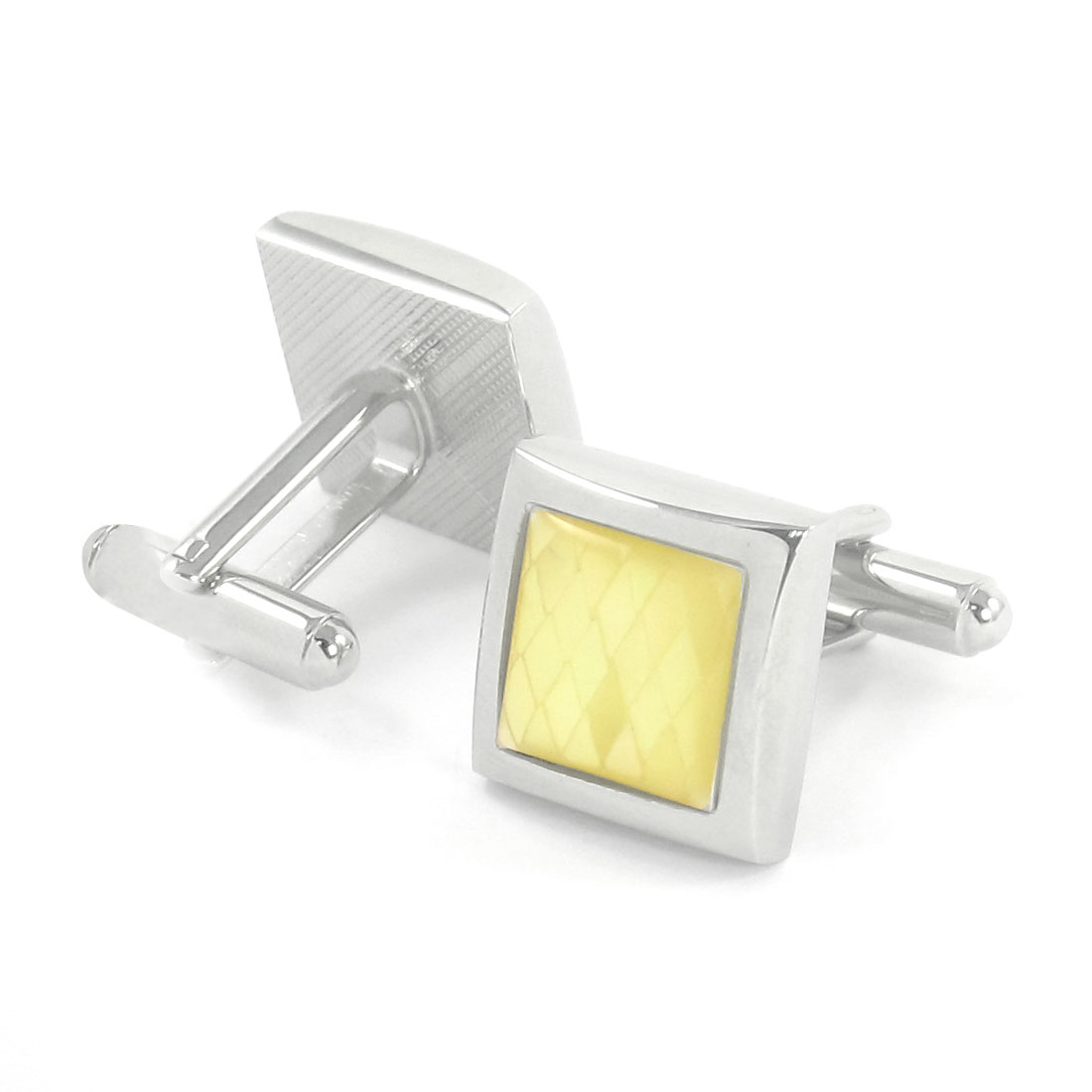 Wedding Party Square Yellow Silver Tone Metal Cufflinks Cuff Links Pair