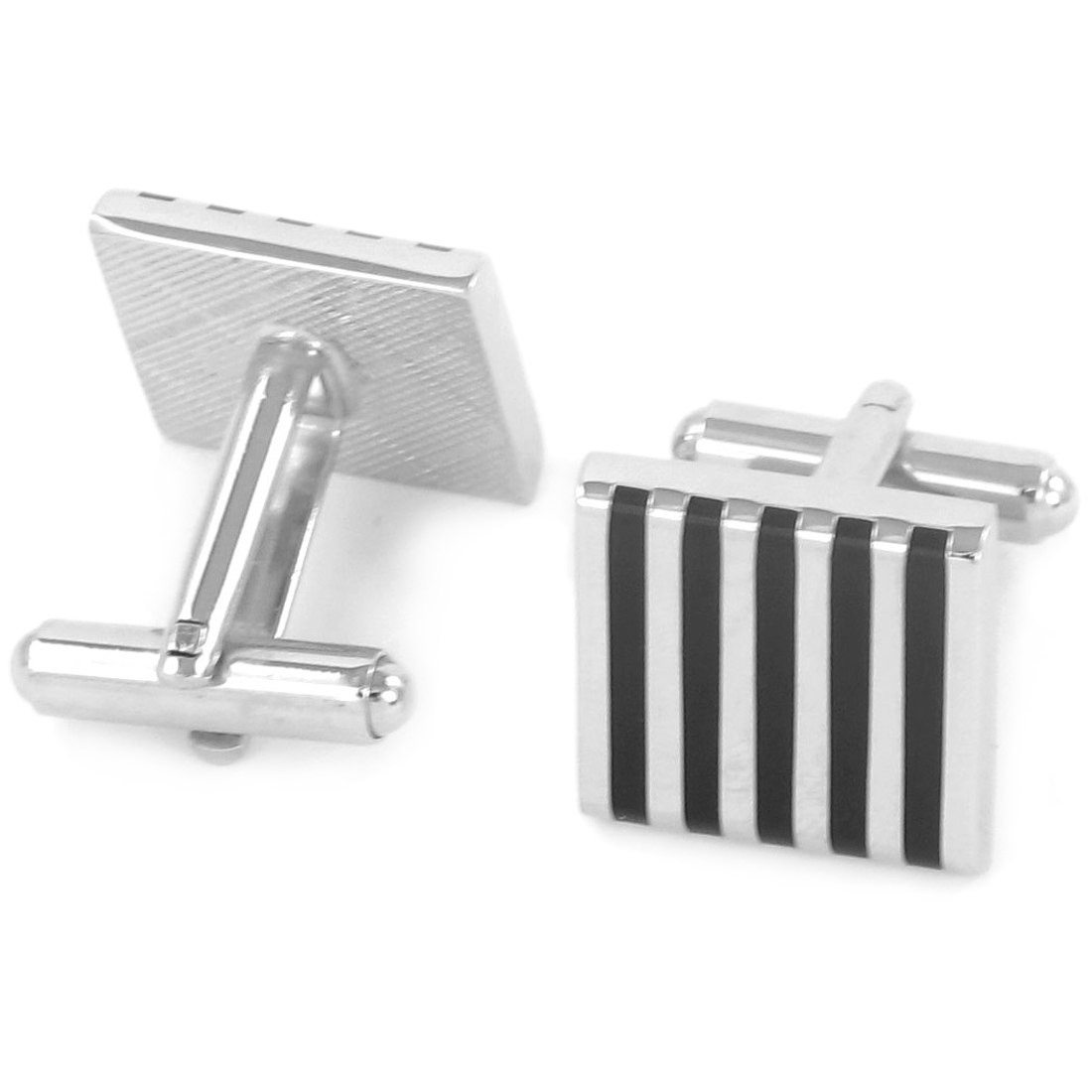 Pair Blue Black Stripes Print Tuxedo Decor Cufflinks Cuff Links for Groom Man