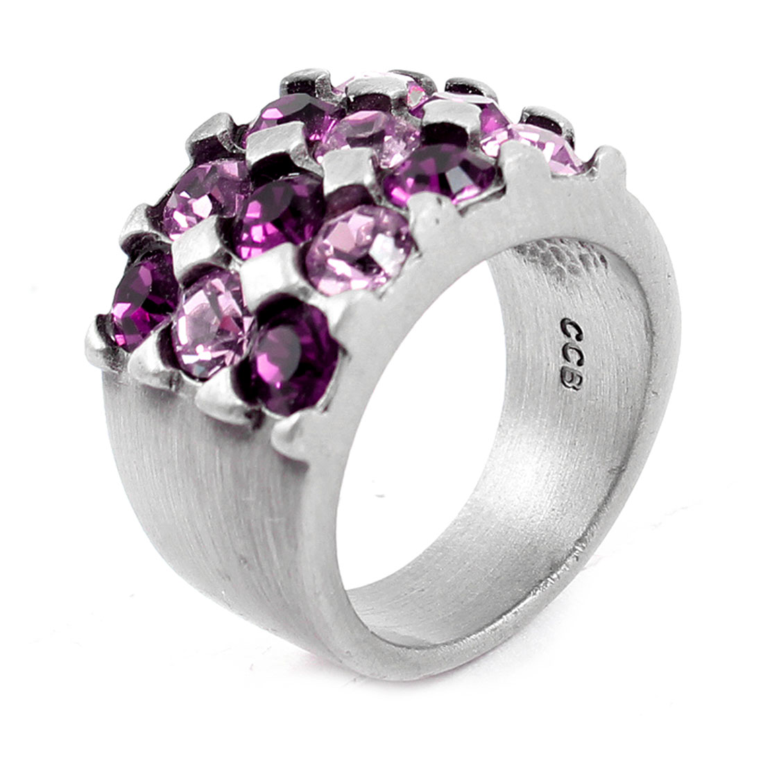 Ladies Purple Light Pink Rhinestone Decor Metal Finger Ring US 5 3/4
