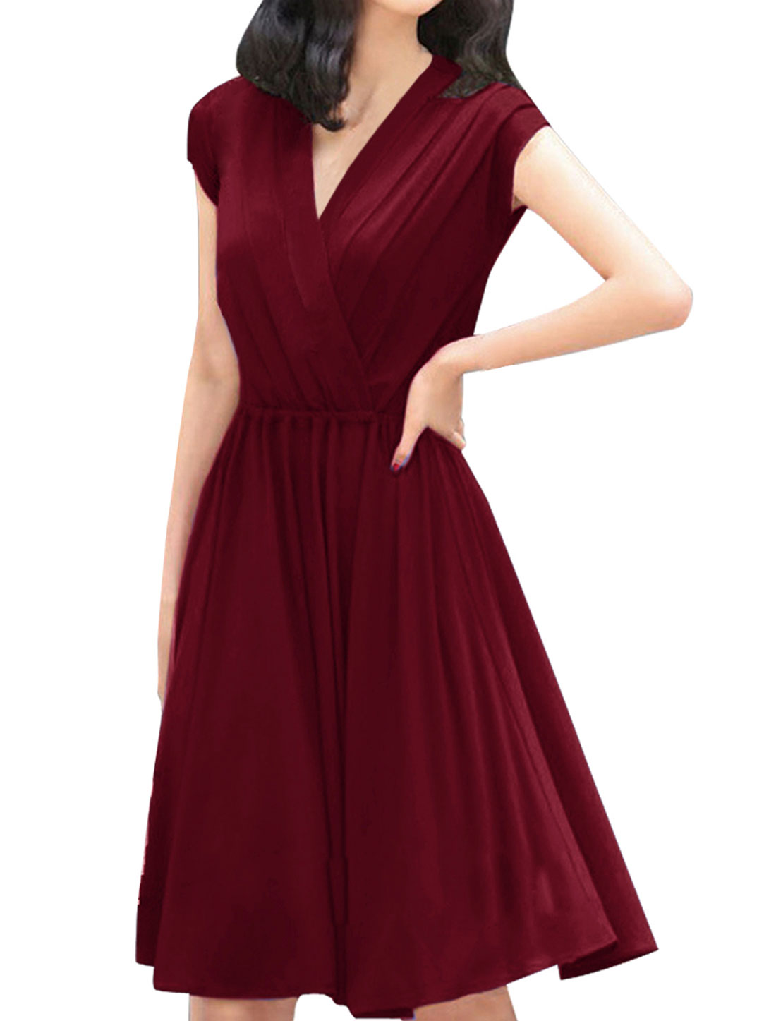 Woman Elastic Waist Pure Burgundy Knee-Length Dress L