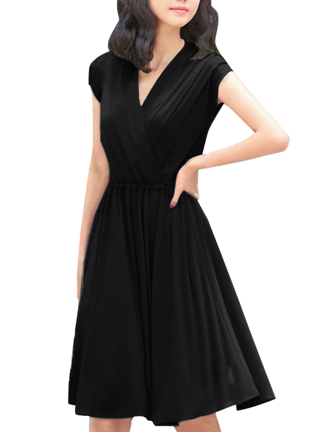 Women Newly Elastic Waist Pure Black Knee-Length Dress XS