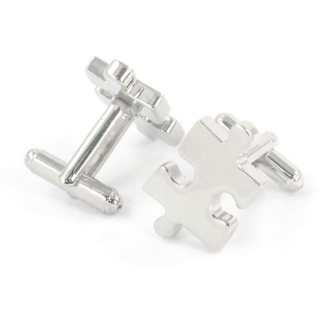 Pair Men Metallic Puzzle Jigsaw Design Tuxedo Shirt Decor Cufflink