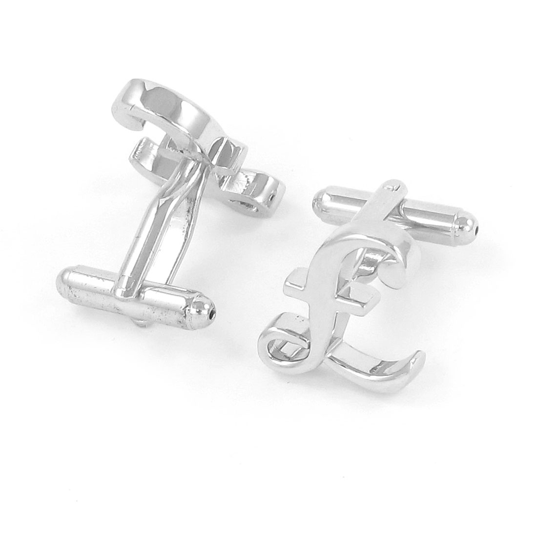 Pair Men Metallic Letter F Design Tuxedo Shirt Decor Cufflink