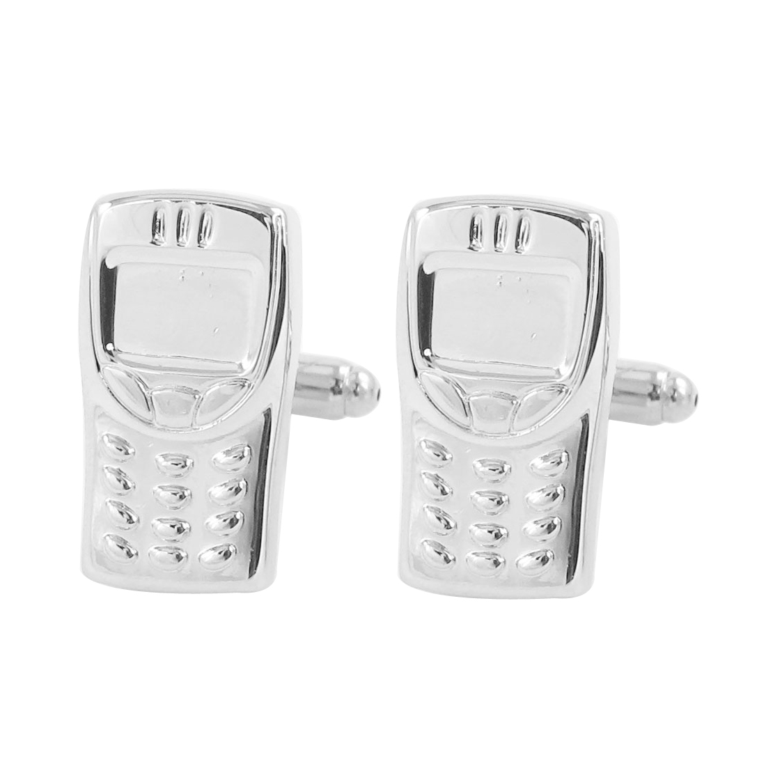 Pair Silver Tone Metal Cell Phone Design Cufflinks for Groom Man
