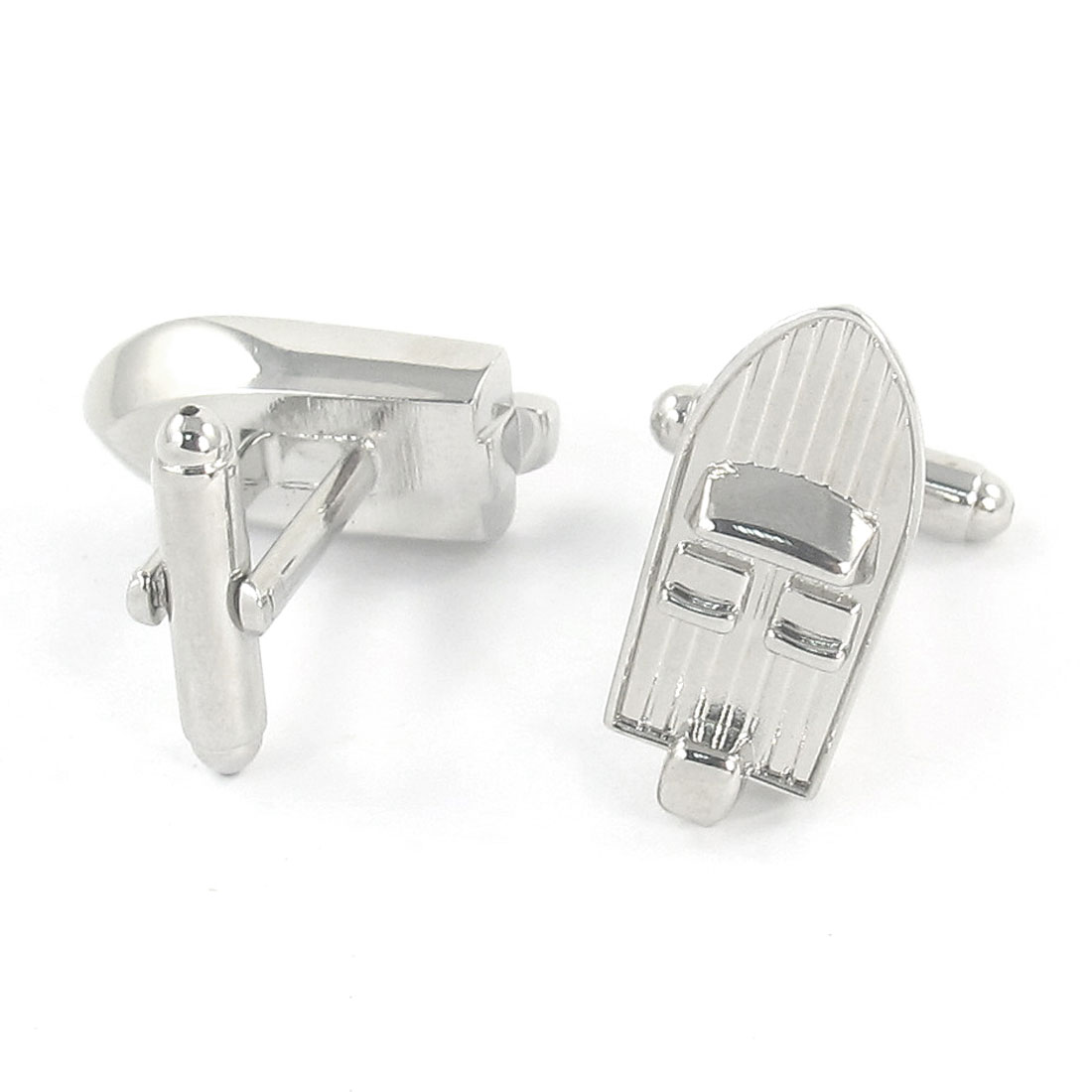 Silver Tone Metal Speed Boat Design Cufflinks Cuff Links Pair