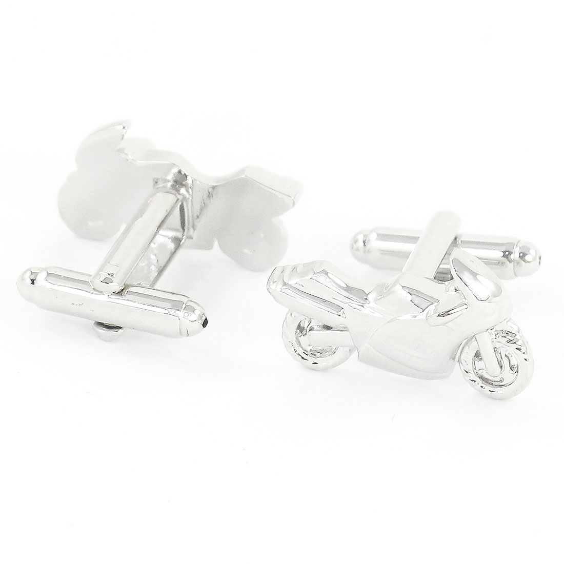 Pair Men Metallic Motorcycle Design Tuxedo Shirt Decor Cufflink