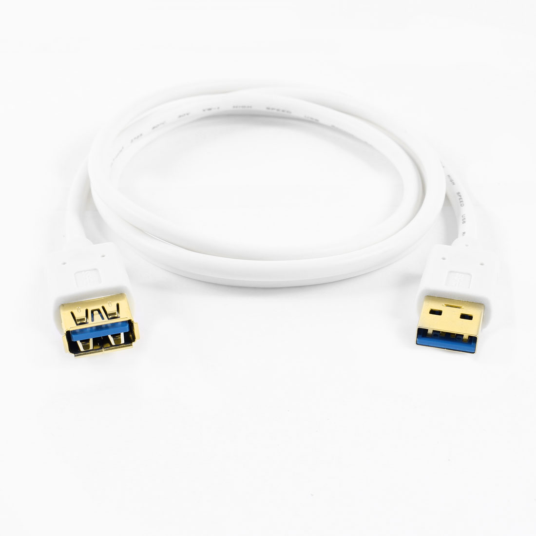 White Superspeed USB 3.0 Type A Male to Female Adapter Cable Cord