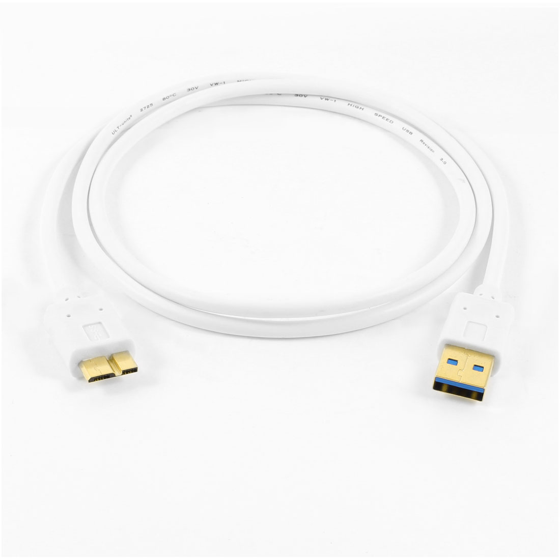 White Superspeed Data Transfer USB 3.0 Type A Male to Micro B Male Cable Cord