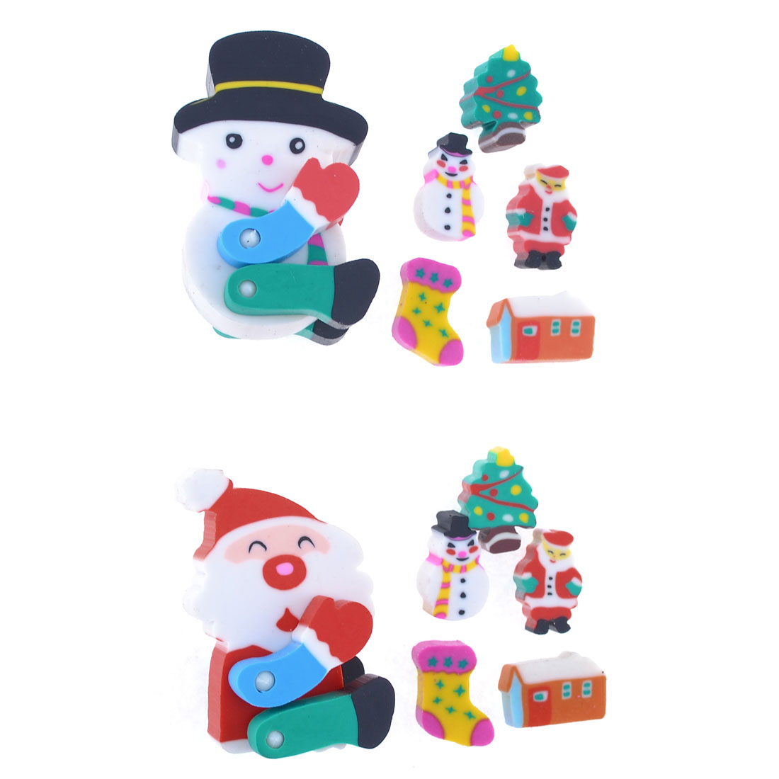 12 Pcs Christmas Tree Snowman Santa Design Rubber Erasers Set