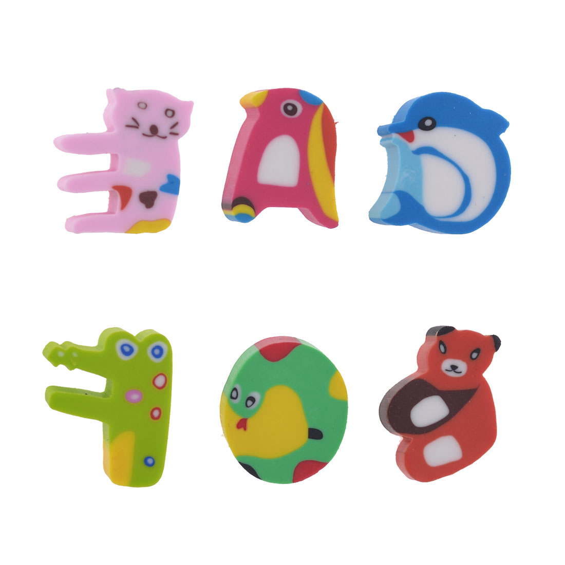 6 Pcs Multicolor Child Cartoon Animal Shaped Letter Rubber Erasers