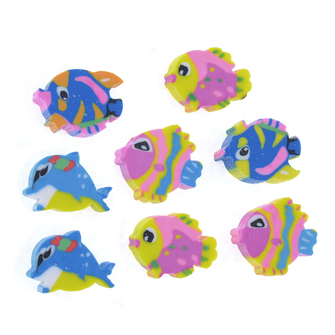 8 Pcs Colorful Fish Shaped Rubber Erasers for Student Child