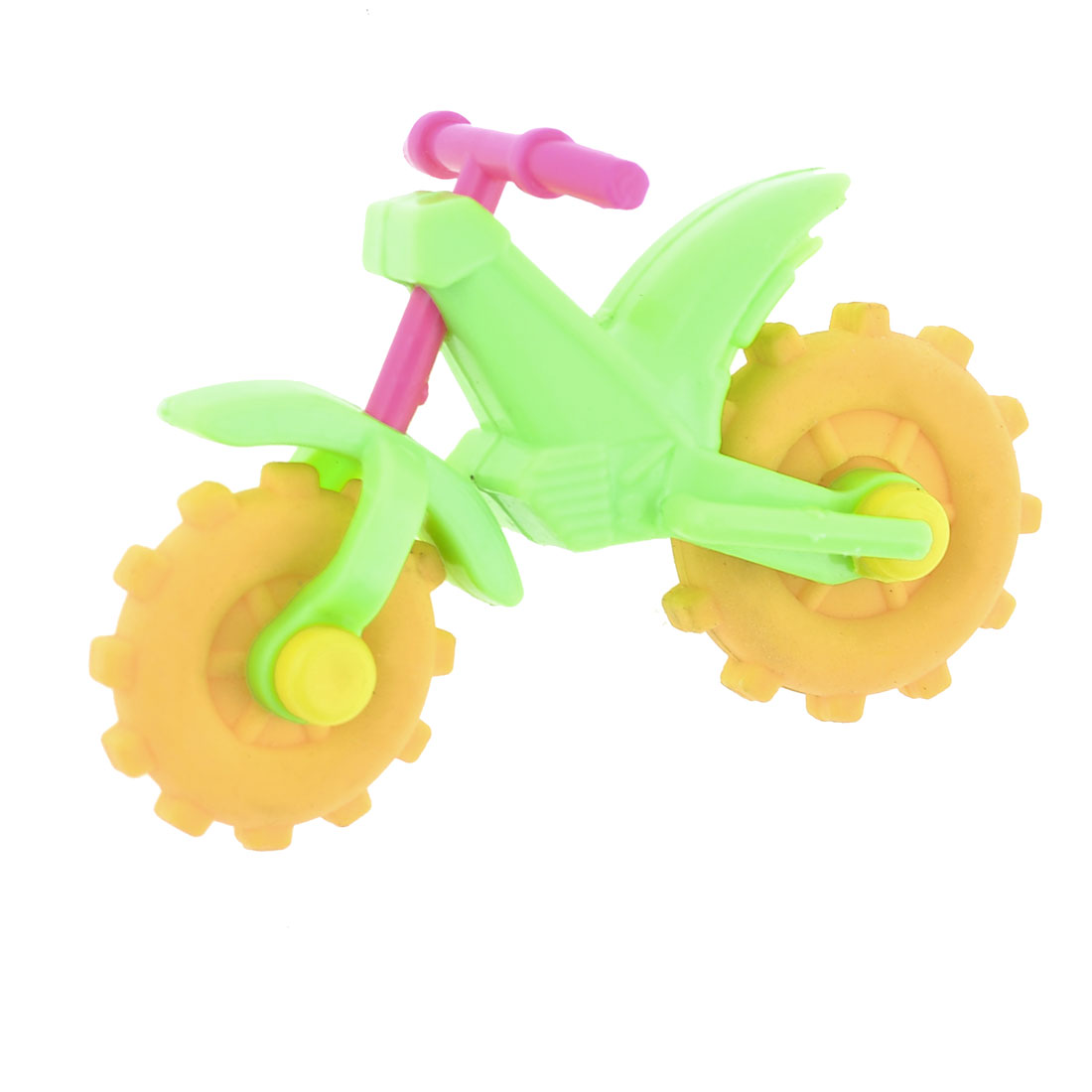 Green Plastic Frame Motorcycle Design Yellow Dual Rubber Wheels Type Erasers
