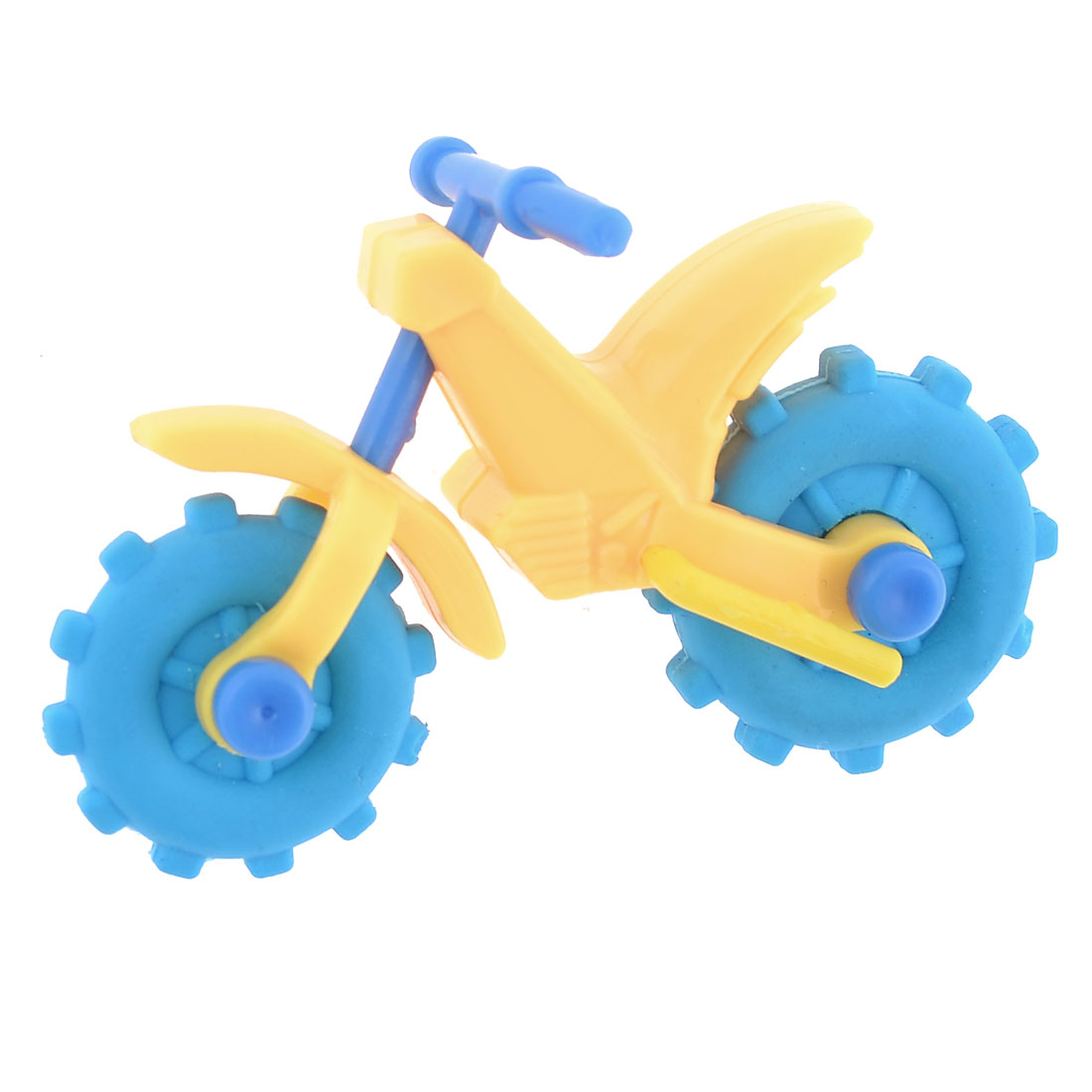 Yellow Plastic Frame Blue Rubber Wheels Motorcycle Shaped Erasers