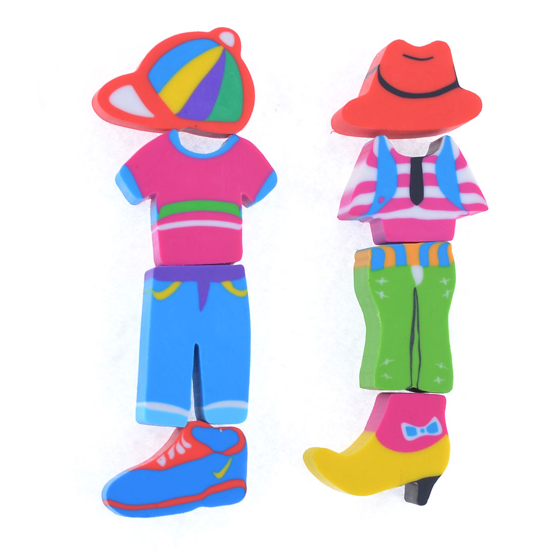 2 Sets Child Colorful Clothing Hat Shaped Rubber Eraser Stationery Gift