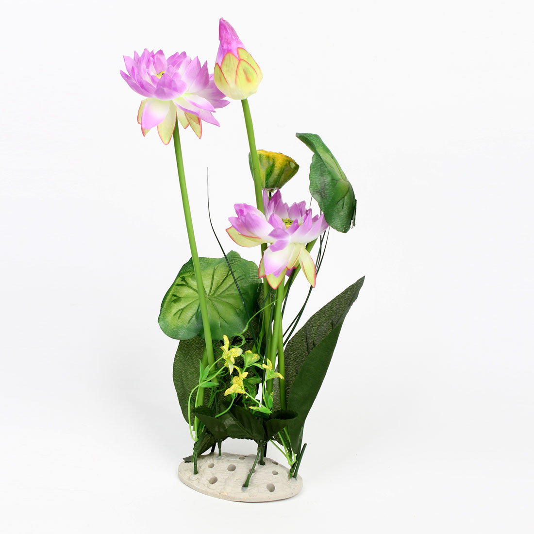 Ceramic Base Purple Green Plastic Lotus 45cm High for Aquarium Decoration