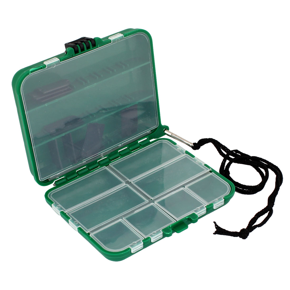 Green Plastic Shell 20 Slots Fishing Hook Bait Storage Case Container Box