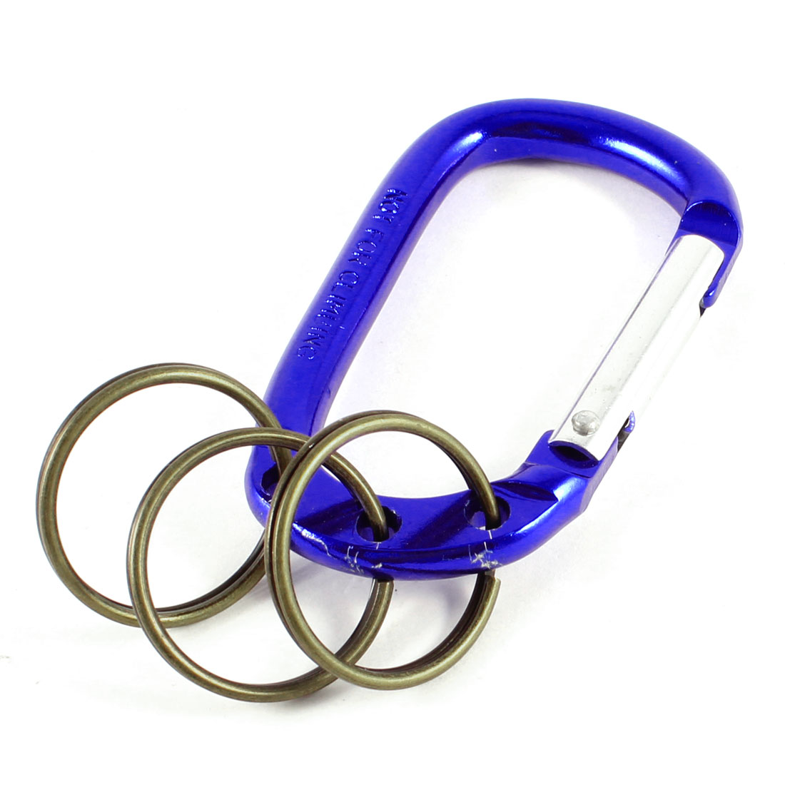 Navy Blue 3-Split Rings Spring Loaded Gate Aluminum Alloy Carabiner Keyring Key Chain