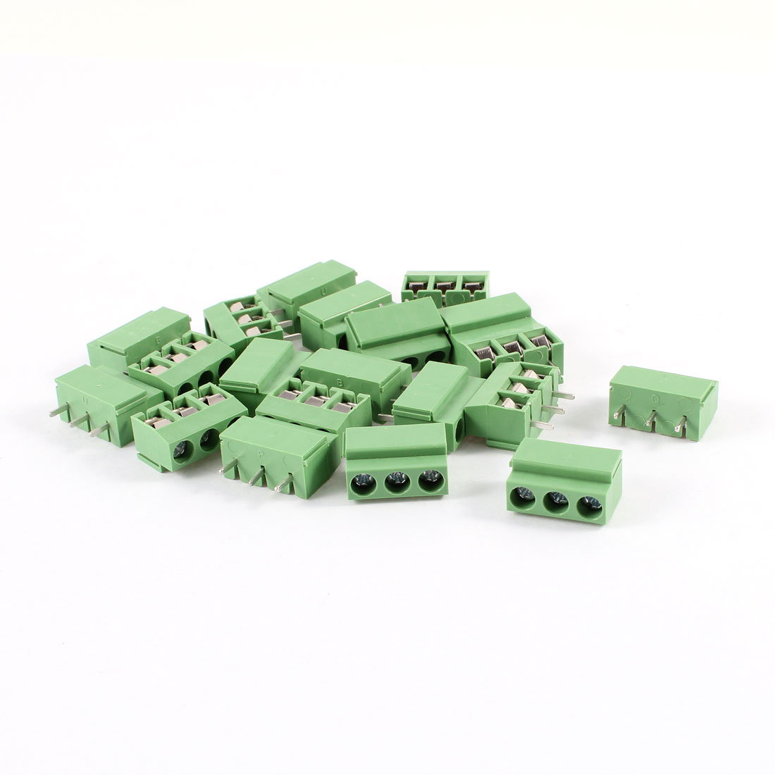 20Pcs 3 Pole 5mm Pitch PCB Mount Screw Terminal Block 8A 250V