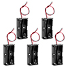 5 Pcs 2 x 1.5V AA Battery Holder Case Box Black w Wire Leads