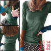 Woman New Fashion Thumb Hole Sleeve Design Dark Green Top Shirt L