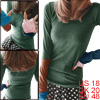 Women Color Block Thumb Hole Sleeve Design T-Shirt Dark Green XL