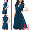 Ladies Deep Crossover V Neck Sleeveless Dark Blue Dress XS