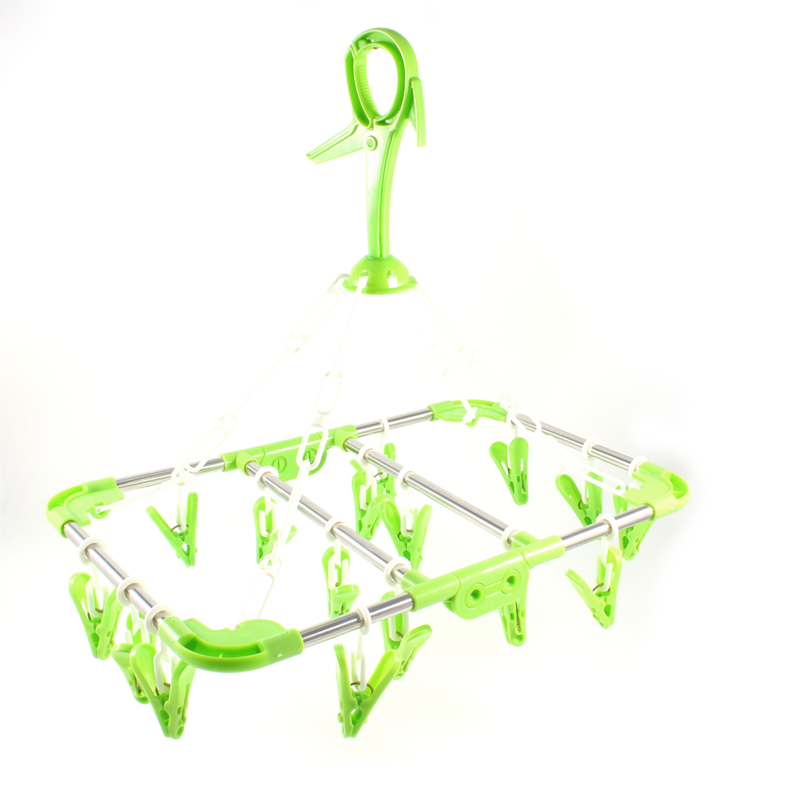 Green Folded Rectangle Frame Plastic 16 Clothespins Pegs Clothes Hanger Rack