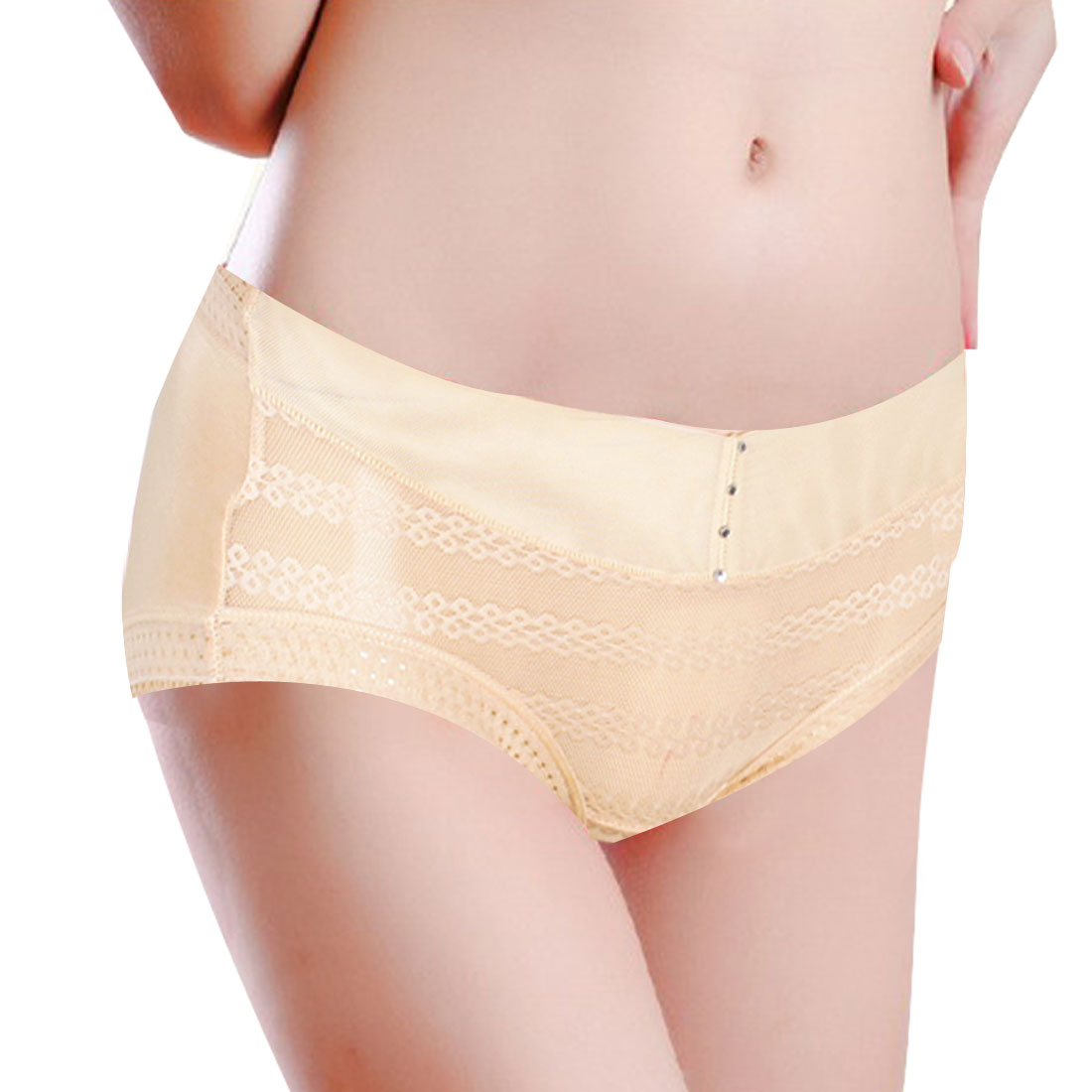 Woman Stretch Waist Laced Brim Underpants Briefs Panties Beige XS