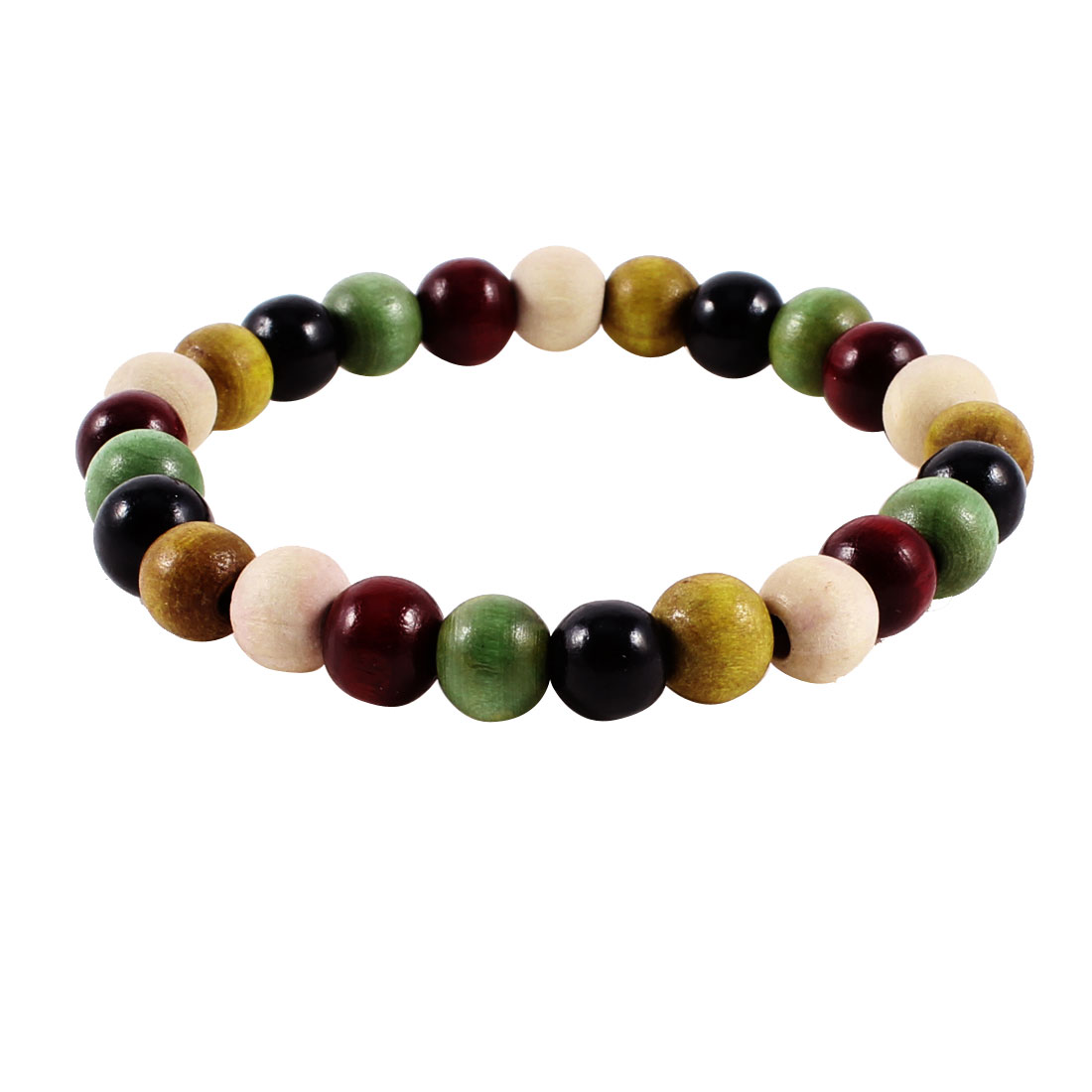 Girl Jewelry Colored Wooden Beads Decor Elastic Wrist Bracelet Bangle