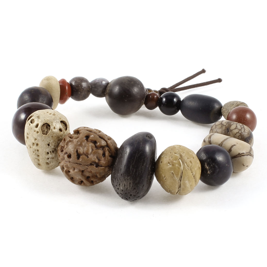 Girl Jewelry Multicolor Assorted Shape Wood Beads Detail Stretch Bracelet Bangle