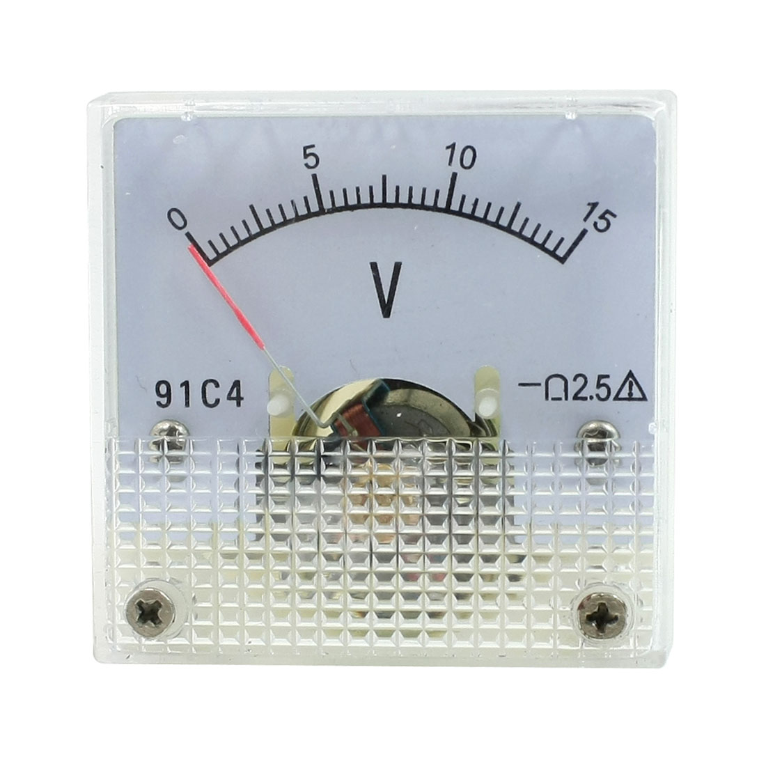 DC 0-15V Class 2.5 Fine Tuning Square Analog Voltage Meter Voltmeter