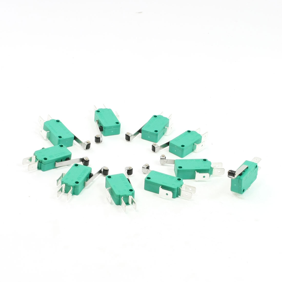 10 Pcs AC 250V 16A SPDT Long Hinge Roller Lever Momentary Micro Switch Green
