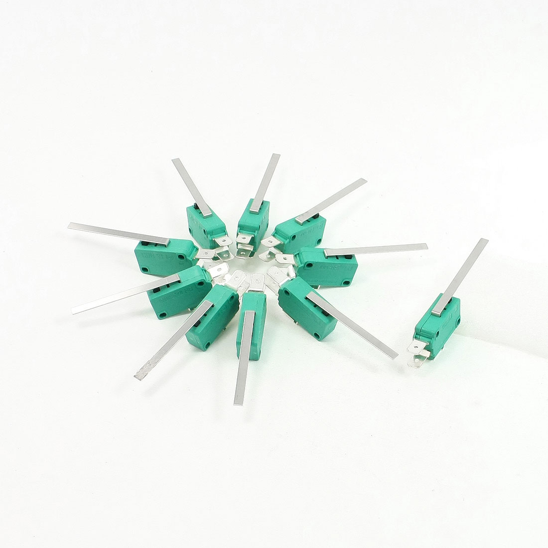 10 Pcs AC 250V 16A SPDT Long Straight Hinge Lever Miniature Micro Switch Green