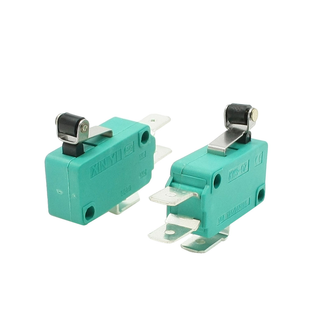 2 Pcs AC 250V 16A SPDT Short Hinge Roller Lever Momentary Micro Switch Green