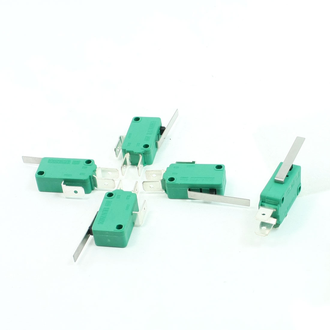 5 Pcs AC 250V 16A SPDT Short Straight Hinge Lever Miniature Micro Switch Green