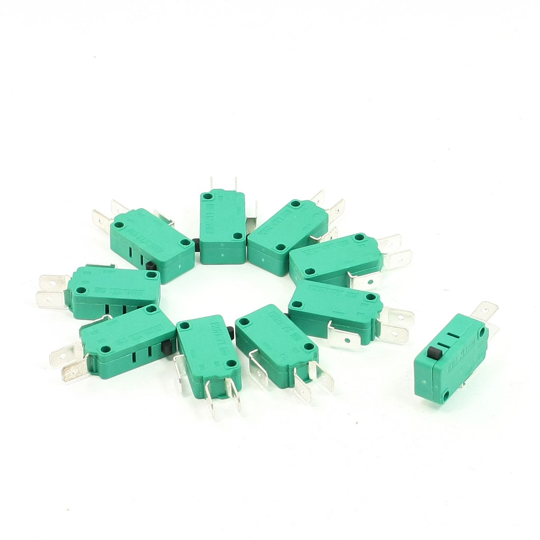 10 Pcs AC 250V 16A SPDT 3 Terminals Momentary Push Button Micro Switch Green