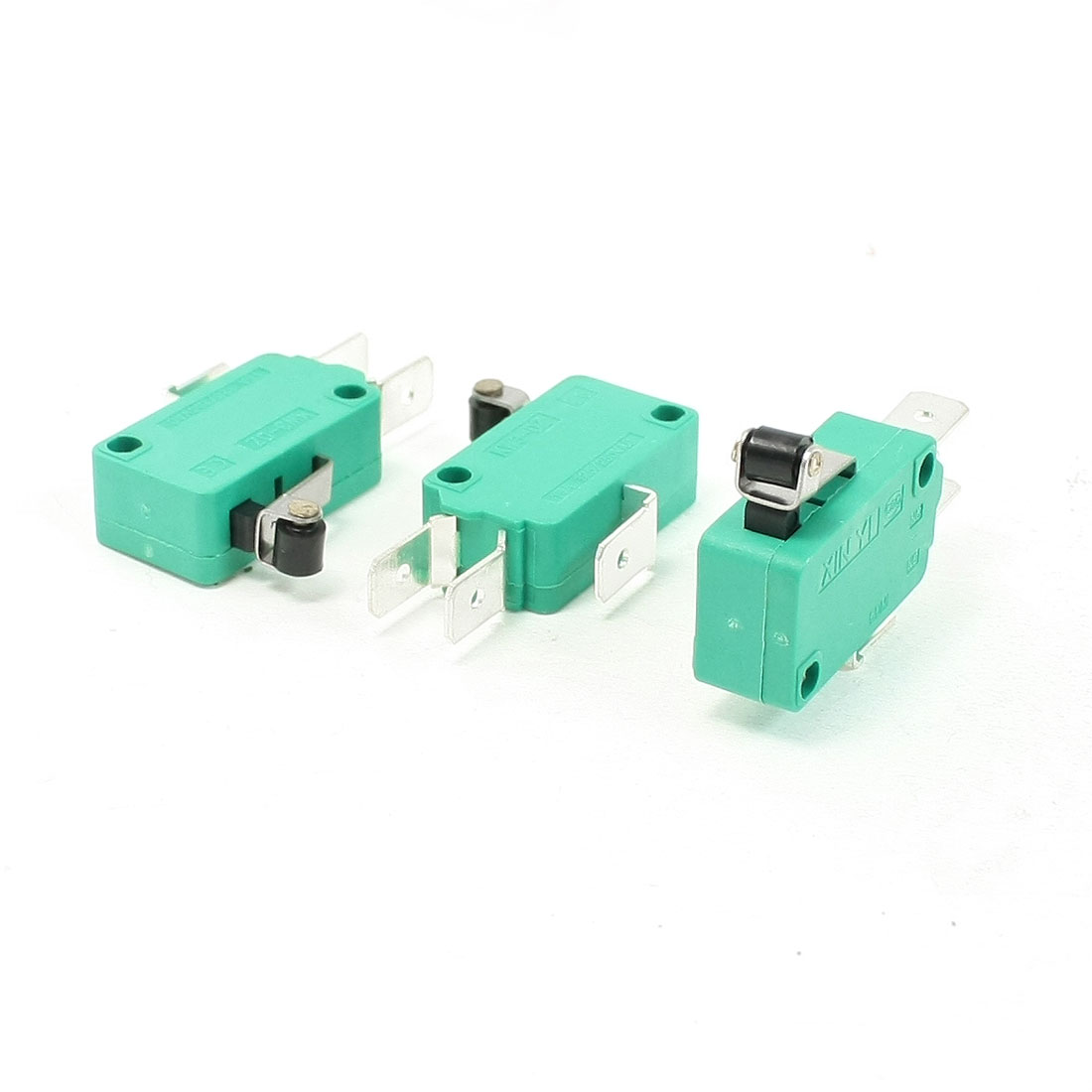 3 Pcs AC 250V 16A SPDT Short Hinge Roller Lever Miniature Micro Switch Green