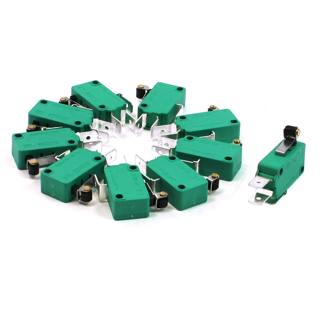 10 Pcs AC 250V 16A SPDT Short Hinge Roller Lever Miniature Micro Switch Green