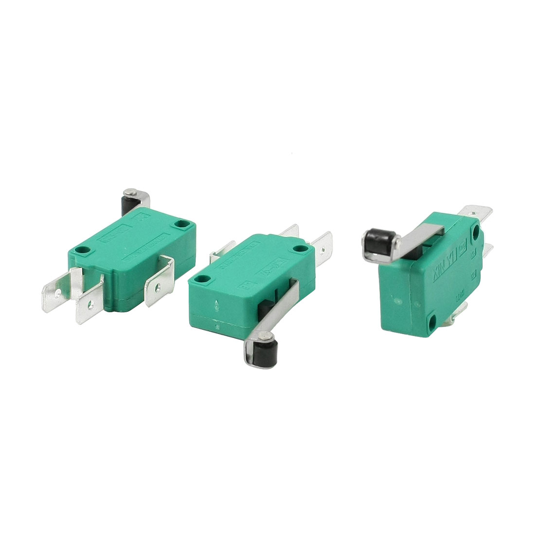 3 Pcs AC 250V 16A SPDT Long Hinge Roller Lever Momentary Micro Switch Green